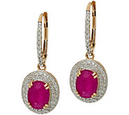 Oval Ruby & Pave Diamond Drop Earrings 14K Gold 2.80 cttw - J350055