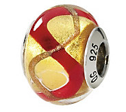 Prerogatives Sterling Gold & Red Italian MuranoGlass Bead - J111556