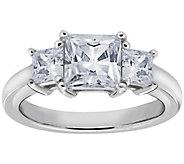 Diamonique 1.50 cttw 3 Stone Princess Cut Ring, Platinum Clad - J111656