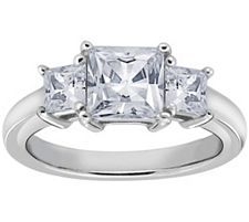 Epiphany Diamonique 1.50 ct tw 3-Stone PrincessCut Ring