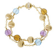 Arte dOro 7-1/4 Double-Strand Gemstone Bead Bracelet, 18K - J112256