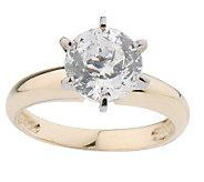 As Is Diamonique 100-Facet 2ct Solitare Ring, 14K Gold - J131556