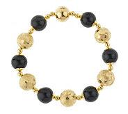 Veronese 18K Clad 7-1/4 Onyx Mosaic Bead Bracelet - J152856