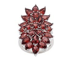 8.15 ct tw Mozambique Garnet Elongate Cluster Sterling Ring