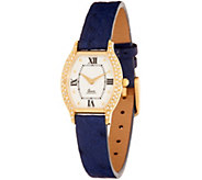 Vicence 3/10 ct tw Diamond Tortue Dial Leather Watch, 14K Gold - J277756
