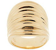 Bronze Bold Polished Ribbed Saddle Ring by Bronzo Italia - J293356