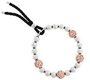 Stainless Steel Crystal Pave Station & Polished Bead Bracelet - J294356