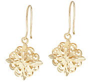 14K Gold Diamond Cut Filigree Design Dangle Earrings - J295856
