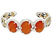Carolyn Pollack Mother-of-Pearl Triplet Sterling/Brass 3-Stone Cuff - J296656