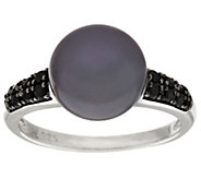Honora Cultured Pearl 10.5mm Pave Gemstone Sterling Ring - J296956
