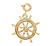14K Yellow Gold Ships Wheel Charm - J298456
