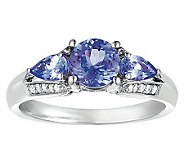 Sterling 1 cttw Tanzanite & 1/8 cttw Diamond Ring - J308556