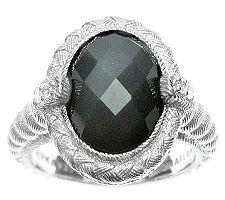 Judith Ripka Sterling Diamonique & Gray Moonstone Ring