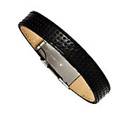 Forza Mens Stainless Steel Black Leather Bracelet - J313256