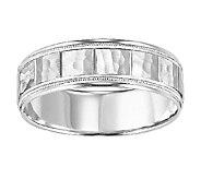 6.5mm Mens Square Pattern Wedding Band, 14K White Gold - J315756