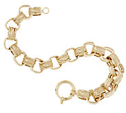 14K Gold 7-1/4 Polished & Textured Square Rolo Bracelet, 11.4g - J319356