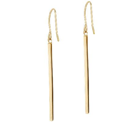 14k Gold Polished Stick Dangle Earrings J319456 Qvc Com