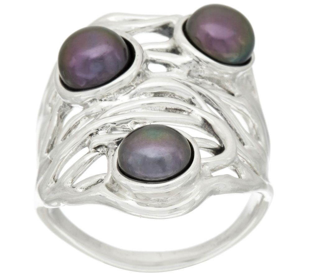 Hagit Sterling Silver Cultured Pearl Openwork Ring