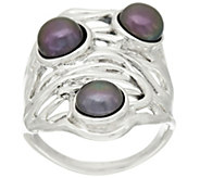 Hagit Sterling Silver Cultured Pearl Openwork Ring - J320156