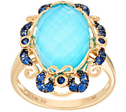 Sleeping Beauty Turquoise Doublet & Sapphire Ring 14K Gold - J323056