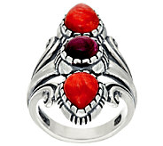 Sterling Silver Spiny Oyster Shell Elongated Ring by American West - J324056