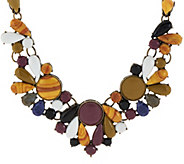 LOGO Links by Lori Goldstein Cabochon Bib Necklace with 3 Extender - J324156