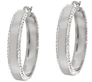 Stainless Steel Polished and Crystal Round Hoop - J324256