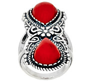 Sterling Silver Red Coral Elongated Ring by American West - J324356