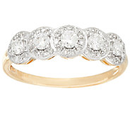 Halo 5-Stone Diamond Band Ring, 14K Gold, 1/2 cttw, by Affinity - J325556