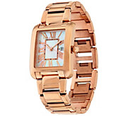 As Is Bronze White Mother-of -Pearl Rectangle Watch by BronzoItalia - J328956
