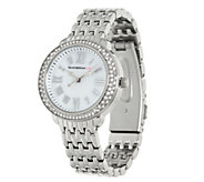 As Is Isaac Mizrahi Live! Round Pave Stainless Steel Bracelet Watch - J329056