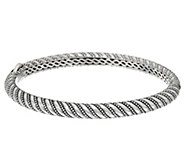 JAI Sterling Silver Andaman Sea Texture Hinged Bangle Bracelet - J329256