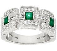Judith Ripka Sterling Silver 0.60 cttw Emerald & Diamonique Ring - J329656