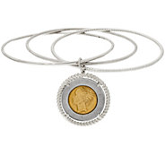 As Is Vicenza Silver Sterling 500 Lire Coin Slip On Bangle - J333556