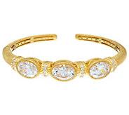 Judith Ripka Sterling/14K Clad 12.05 cttw Oval Diamonique Cuff Bracelet - J334856