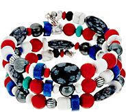 Sterling Silver Classic Gemstone Coil Bracelet by American West - J347656