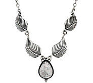 Sterling Silver Leaf and Magnesite Necklace by American West - J348456