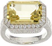 Judith Ripka Sterling Silver 5.50 cttw. Lemon Quartz & Diamonique Ring - J348656
