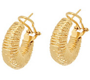 Arte dOro Wrapped Omega Back Hoop Earrings 18K Gold - J349256