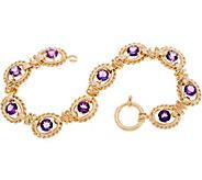 14K Gold 8 Gemstone Bracelet, 11.4g - J350556
