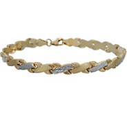 14K Gold 7-1/4 Stampato Criss-Cross Design Bracelet - J350656