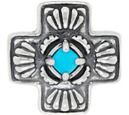 American West Sleeping Beauty Turquoise Sterling Silver Cross Enhancer - J350856