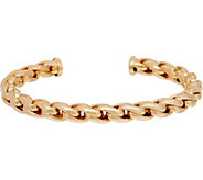 Italian Gold Large Status Link Cuff Bracelet, 14K Gold, 11.8g - J350956