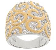 TOVA Diamonique Two-Tone Swirl Design Ring, Sterling - J353756