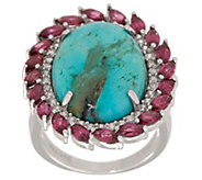 Kingman Turquoise & 2.45 cttw Gemstone Ring Sterling - J354056