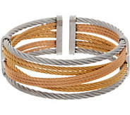 ALOR Stainless Steel Mixed Cable Open Cuff Bracelet - J354556