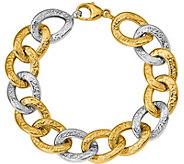 14K Two-tone Polished & Textured Bold Link 8 Bracelet, 18.6g - J377256