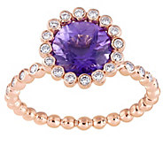 14K 1.85 ct Amethyst & 1/5 cttw Diamond Halo Ring - J377856