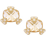 Judith Ripka 14K Clad Champagne Quartz Stud Earrings - J380256