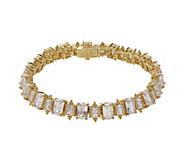 Judith Ripka 14K Clad 6-3/4 Emerald Cut Diamonique Bracelet - J381256